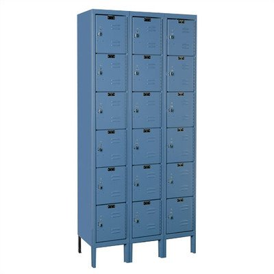 Hallowell U3288-6HG Premium Locker, 36'' Width x 18'' Depth x 78'' Height, 6-Tier, 3-Wide, Knock-Down, 725 Gray by Hallowell