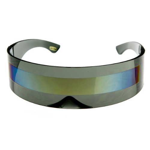 zeroUV - 80s Futuristic Cyclops Cyberpunk Visor Sunglasses with Semi Translucent Mirrored Lens (Smoke/Sun)