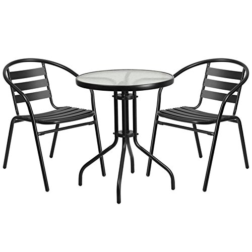 Flash Furniture 23.75'' Round Glass Metal Table with 2 Black Metal Aluminum Slat Stack Chairs by Flash Furniture