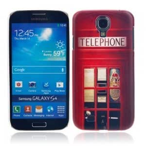 Unique Colorful Plastic Protective Case with Telephone Booth Pattern for Samsung S4/i9500
