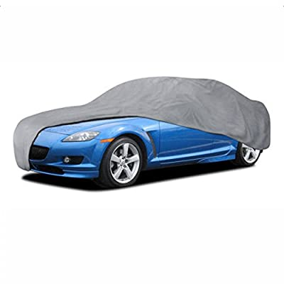 """Waterproof Full Car Cover All Weather Sun UV Snow Rain Wind Dust Resistant Fits Up to 157"""" (PEVA, Gray)"""