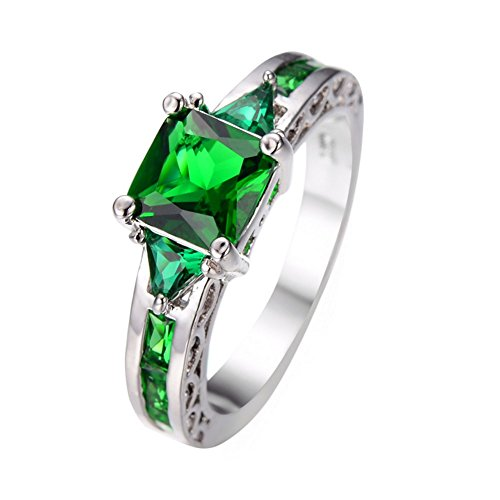 PSRINGS Summer Green Emerald Square Finger Ring 10KT White Gold Filled Jewelry Vintage Wedding Rings - Square The Emerald Mall