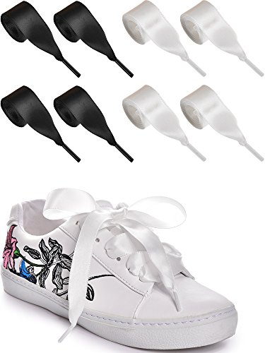 Wide Black Satin Flat - Bememo 8 Pairs Satin Ribbon Shoelaces Wide Flat Satin Ribbon Shoe Laces for Kids and Adults, Black and White