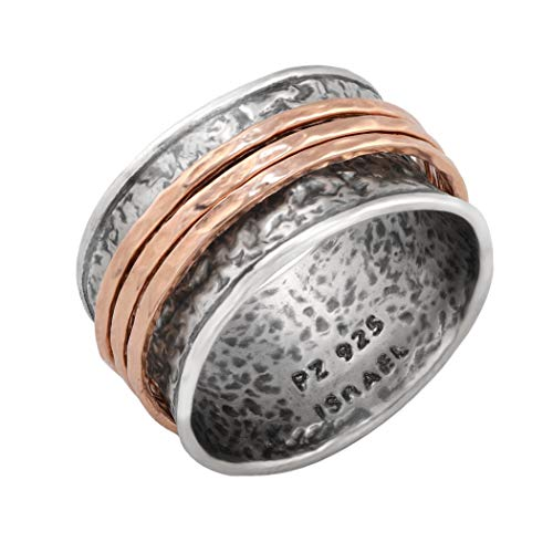 Paz Creations .925 Sterling Silver Gold Plated Spinner Ring (Rose Gold, 7)