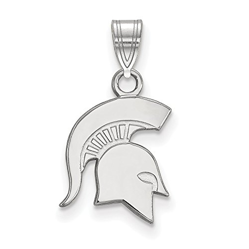Jewelry Stores Network Michigan State University Spartans School Mascot Head Pendant in Sterling Silver S - (13 mm x 11 mm)