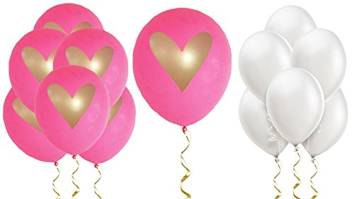 Hot Pink White Gold Heart Balloons Love 12
