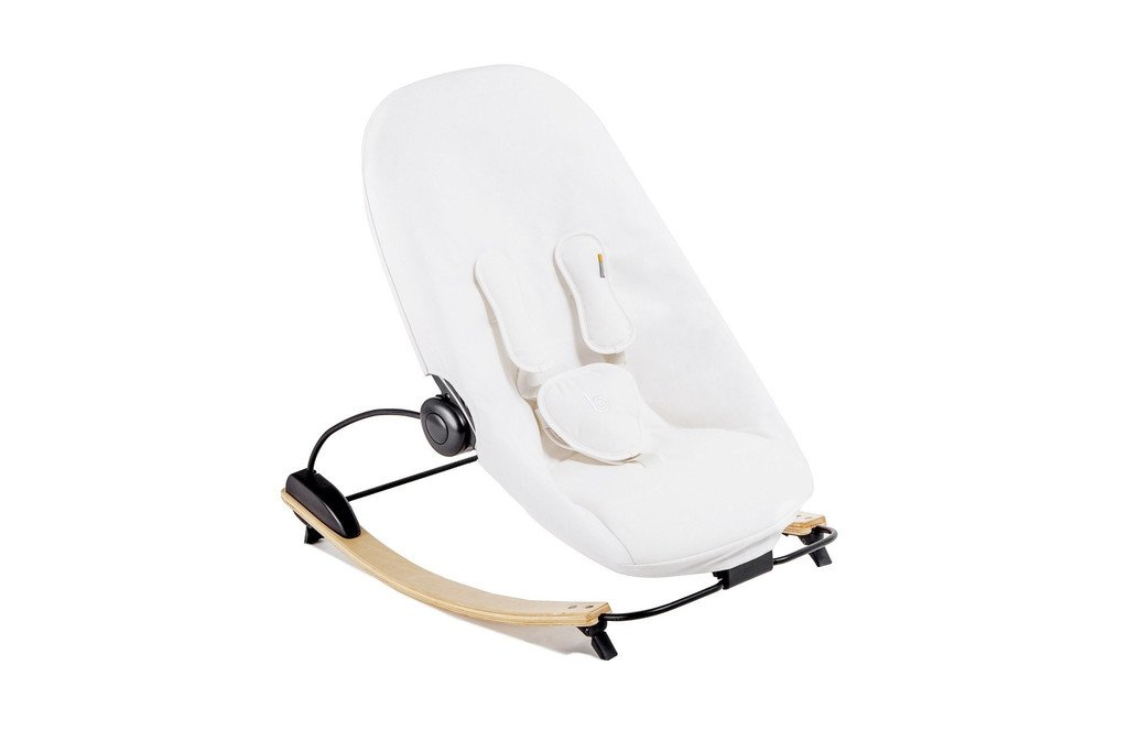 Bloom Coco Go 3-in-1 Baby Lounger / Bouncer / Rocker Natural Frame with Seat Pad in Organic Cotton Canvas (coconut white)