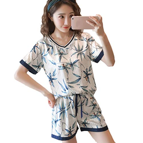 Women Sexy Sleepwear Set Lingerie Nightwear Short Sleeve Comfort Sleepwear Short Blue]()
