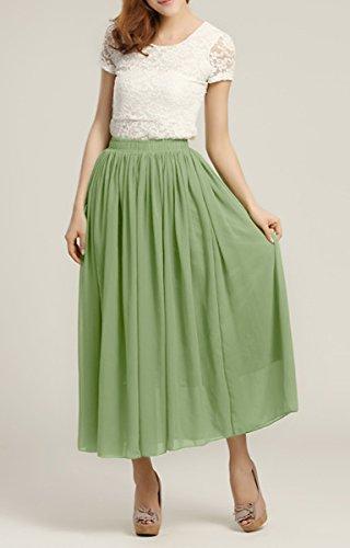Feoya - Mujer Falda Larga Maxi de Gasa Chiffon en Color Puro Estilo Boho para Playa Viaje Vacaciones Verano Verde