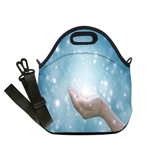 - Custom Digital Printing Insulated Lunch Bag,Neoprene Lunch Tote Bags Hands of a woman respecting and praying on blue background custom Stylish Lunch Bag, Multi-use for Men, Women and Kids
