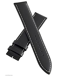 Elysee 24mm Black Genuine Leather White Stitching Watch Band Strap