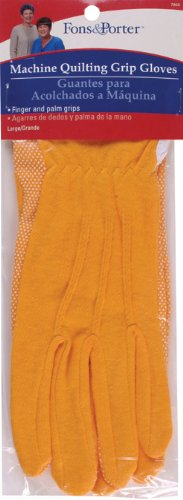 Dritz Fons & Porter 7856 Machine Quilting Grip Gloves, Gold, Size Large