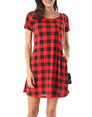 Cotton Plaid Belt - ROOSEY Womens Plaid Short Sleeve Pockets Loose Swing Casual T Shirt Dresses M