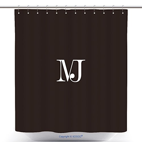 Funky Shower Curtains Unique Simple Stylish Connected Black And White Color Mj Initial Based Letter Icon Logo 602575109 Polyester Bathroom Shower Curtain Set With (Halloween Costumes Based On Words)