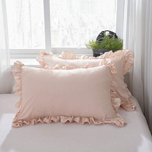(TEALP Shabby Vintage Pillowcase Lace & Ruffle Pillow Shams Princess European Pillow Cover Protector Country Girls Frilly Pillow Cover Protector 2 Pcs 20x30 inches )