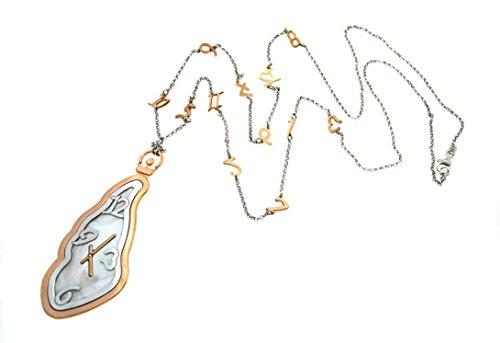 Collier 90cm avec pendentif horloge 8cm avec chiffres alternés à la Collier en argent sterling 925hypoallergénique plaqué en or blanc et rose, poids 24gr