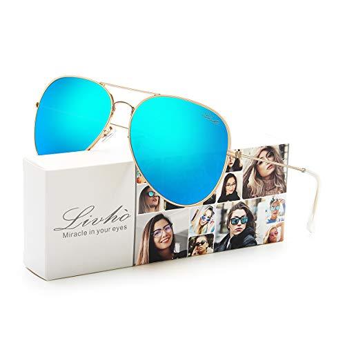 LIVHO 2 Style Classic Aviator Polarized Sunglasses for Men Women Metal Frame Mirror UV400 Lens Protection (Gold Deep Blue, 62)