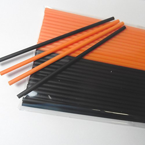 50pcs mixed Lollipop sticks for Halloween party (25 black and 25 orange)]()