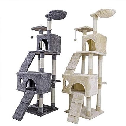 NIKINA Casa de Gato Saltar Juguete con Escalera de Gran tamaño Gato Madera rascador Escalada Gato Muebles con Hamaca Gato rascador Post: Amazon.es: ...