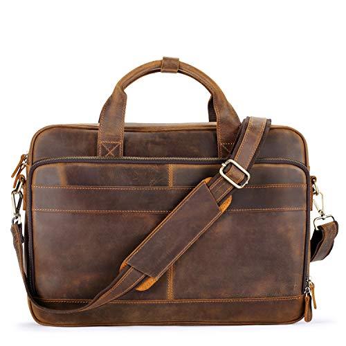 Jack&Chris Men's Genuine Leather Briefcase Messenger Bag Attache Case 15.6' Laptop, MB005-8L