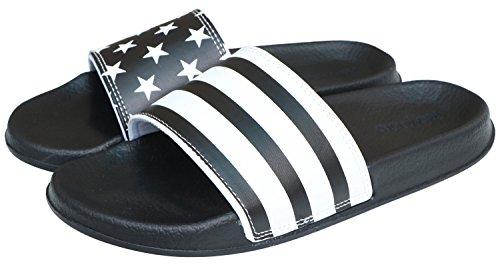 Rowoo+Men%27s+Lightweight+Flat+Stripe+and+Star+Slide+Sandals+%2845+EU+%2F+12+US%2C+Black%29