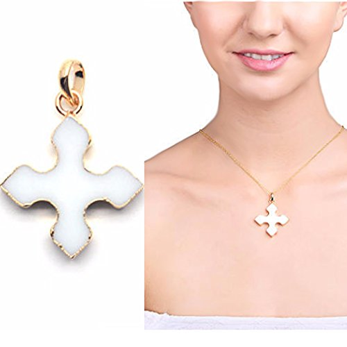 White Medieval Cross Pendant, 29x25mm Gold Electroplated Gemstone Charms Chain Pendant 1pc (GPWA-50024)