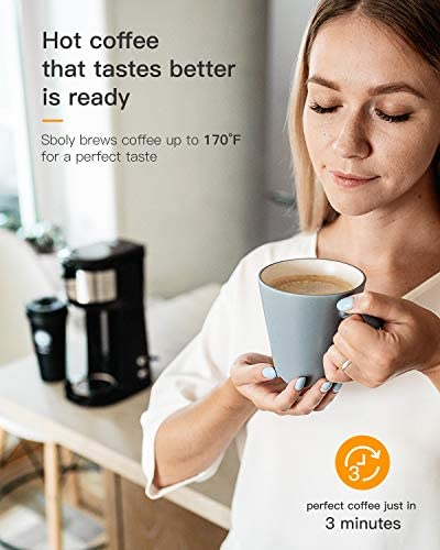 Sboly Single Serve Coffee Maker Brewer for Ok-Cup Pod & Ground Coffee Thermal Drip Instant Coffee Machine with Self Cleaning Function, Brew Strength Control