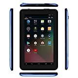 Haehne 7 Inches Tablet PC - Google Android 5.1 Quad Core, 1024 x 600 Screen, 2.0MP 0.3MP Dual Camera, 1G RAM 8GB ROM, 2800mAh, WiFi, Bluetooth (Blue)