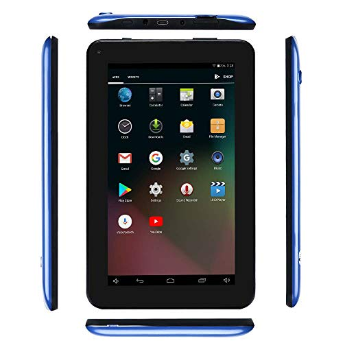 Haehne 7 Inches Tablet PC - Google Android 5.1 Quad Core, 1024 x 600 Screen, 2.0MP 0.3MP Dual Camera, 1G RAM 8GB ROM, 2800mAh, WiFi, Bluetooth (Blue)
