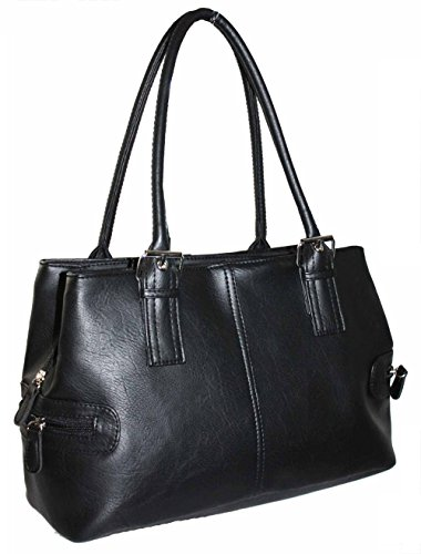 Women's Quality Leather Style Shoulder Handbag 3 compartments (Black)