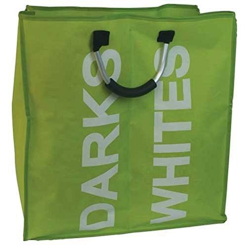 100% Polyester Single /Double Large Laundry Bags Pop Up Bag Home Storage Basket Hamper (Green Single Laundry Bag) by JVL