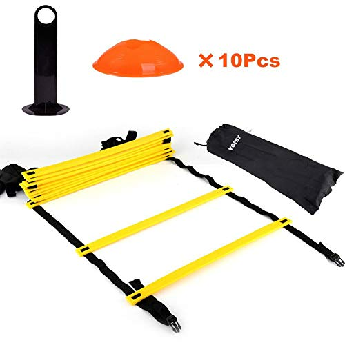 Speed AGILITY LADDER Training Equipment by F1TNERGY 12 Rung 10 Speed Cones