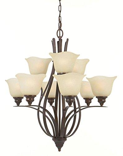 Feiss F2053/6+3GBZ Morningside Glass Chandelier Lighting, Bronze, 9-Light (29