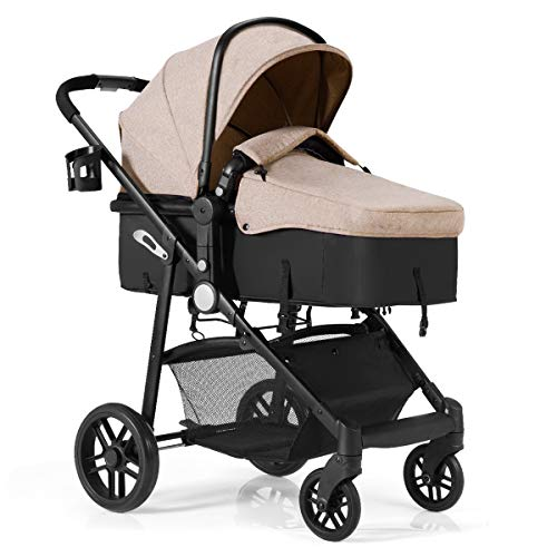 Cheapest Prices! BABY JOY Baby Stroller, 2 in 1 Convertible Carriage Bassinet to Stroller, Pushchair...
