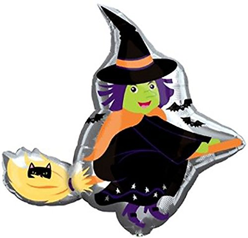 """Custom, Fun & Cool {XL Huge Giant Size 35"""" Inch} 1 Unit of Helium & Air Inflatable Mylar Foil Balloon w/ Flying Witch on Broomstick Bats & Cat Halloween Design [in Black, Orange, Silver & Green] (Orange And Black Halloween Colors Meaning)"""
