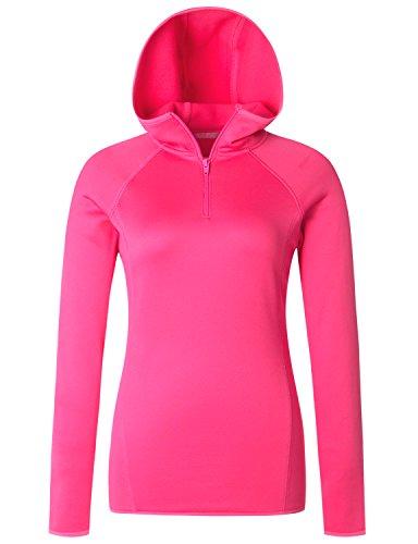 (Regna X Love Coated Women 1/2 Zip Running Fleece Hoodie Pullover Pink)