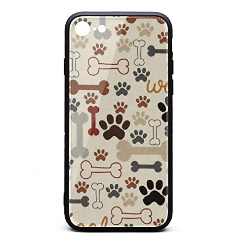 Yiastia_Minyi iPhone 8 Case, iPhone 7 Case Dog Bones & Paw Prints-01 9H Tempered Glass Back Cover and TPU Rubber Frame Phone Cover Compatible for iPhone 7/iPhone 8