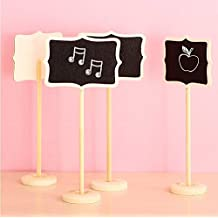 Worldoor?12 Mini Retangle Chalkboard Blackboard with Stand Wedding Party Table Numbers Place Card Favor Tag Plant Marker by Worldoor