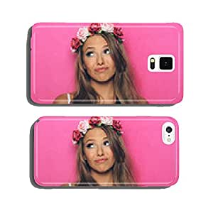 Young woman with flowers in her hair cell phone cover case iPhone5