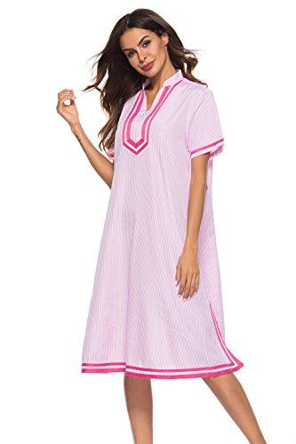 Poseca Womens Striped V Neck Dress Short Sleeve Nightgown Loose Loungewear