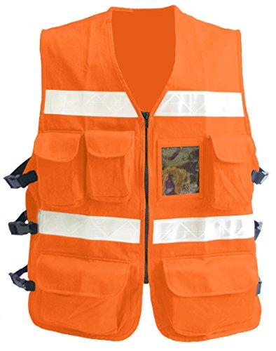 RsV 1605/JLS Chaleco REFLEJANTE Gabardina 100% Algodon 7 Bolsas Mod 1605/JLS Naranja