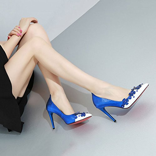Robe de Travail Hauts en Fleur Saisons Mixtes Cuir Chaussures Joker DKFJKI Strass Quatre Blue Talons Mode Chaussures des Femmes w1gAAp