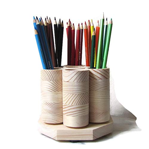 7 Cup Desktop Rotating Pencil Holder Desk Organizer Colored Pencil Storage Holds up to 100 Pencils Artist Paint Brushes