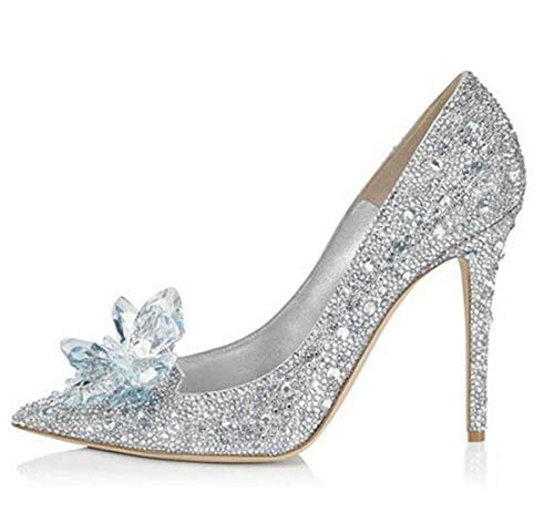 LBTSQ crystal fashion bridesmaid seven head shoes diamond mouth shallow Wedding 9cm Thirty banquet high heel shoes pointy qrtrwfEO
