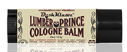 Lumber Prince Solid Cologne Balm Fragrance Parfum by BushKlawz - Distinctly Masculine Modern LumberJack Scent for Men - Travel Size Stick - Best Lumberjack Woody Musk Scented Solid Cologne Manly (0.15 Ounce Solid Fragrance)