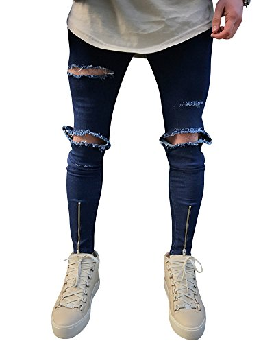 Hombre Slim Fit Vaqueros Skinny Biker Jeans Piernas Cremallera Rotos Denim Pantalones Azul