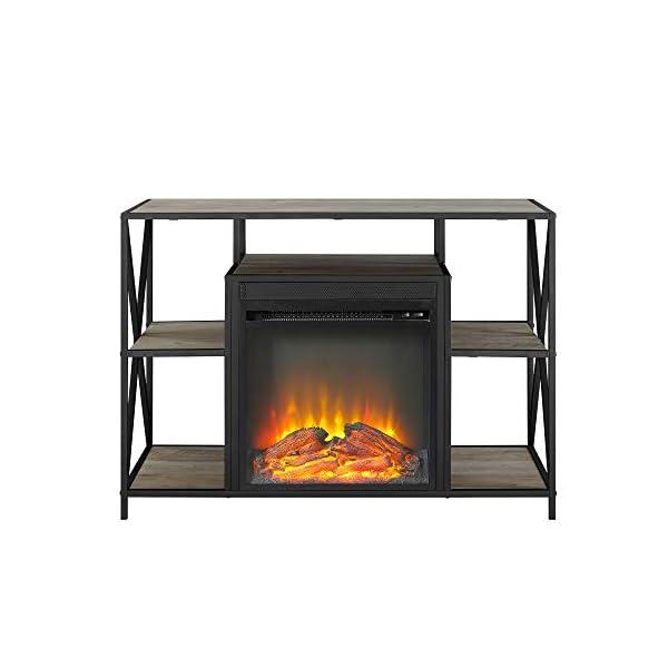 "Walker Edison Furniture AZ40FPXFJGW Fireplace TV Stand 40"" Grey Wash"
