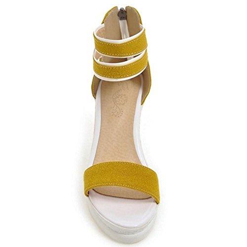TAOFFEN Mujer Moda Comodo Dulce Tacon de Cuna Peep Toe Sandalias con Cremallera amarillo