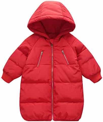 7c32a8b7f05 Boys Girls Winter Down Coat Windproof Puff Hoodie Jacket Lightweight  Overcoat
