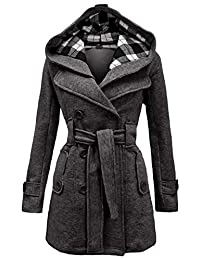OMZIN Women's Winter Double Breasted Pea Coat Mid Length Outwear Trench Coat